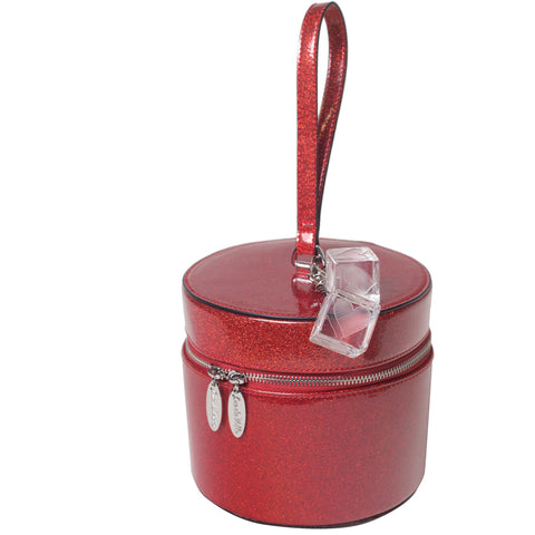 Lux De Ville Mini Taylor Hat Box Venom Red Sparkle Retro Rockabilly Vintage