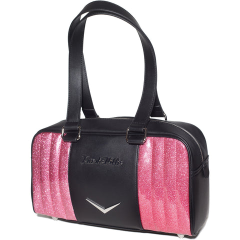 Lux De Ville Small Carry All Tote Matte Black & Pink Bubbly Sparkle Rockabilly