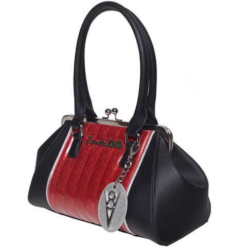 Lux De Ville V8 Kiss Lock Venom Red Sparkle Handbag Retro Rockabilly Pin Up
