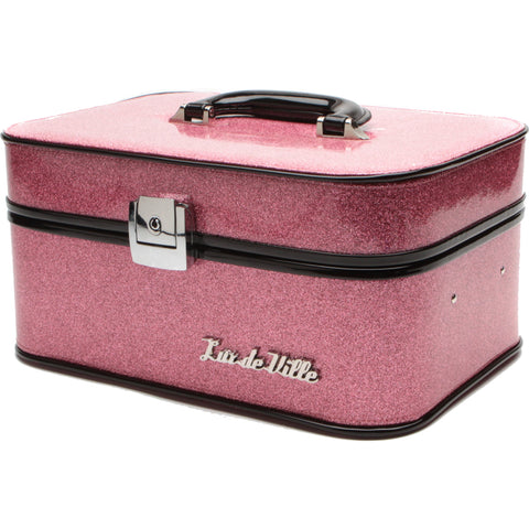 Lux De Ville Vanity Case Pink Bubbly Sparkle Makeup Retro Rockabilly Vintage
