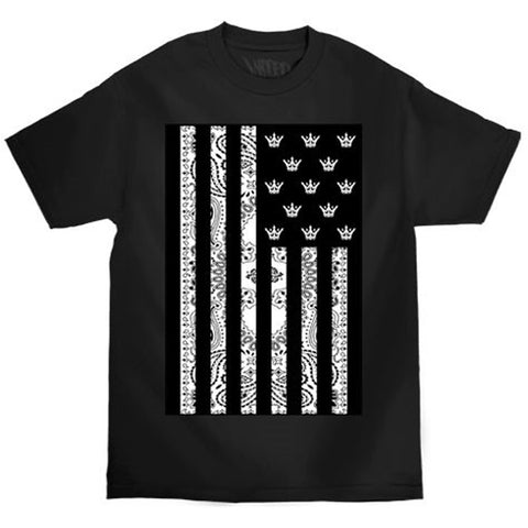 Mafioso Flagged Up T-Shirt Black Bandana Print Crowns
