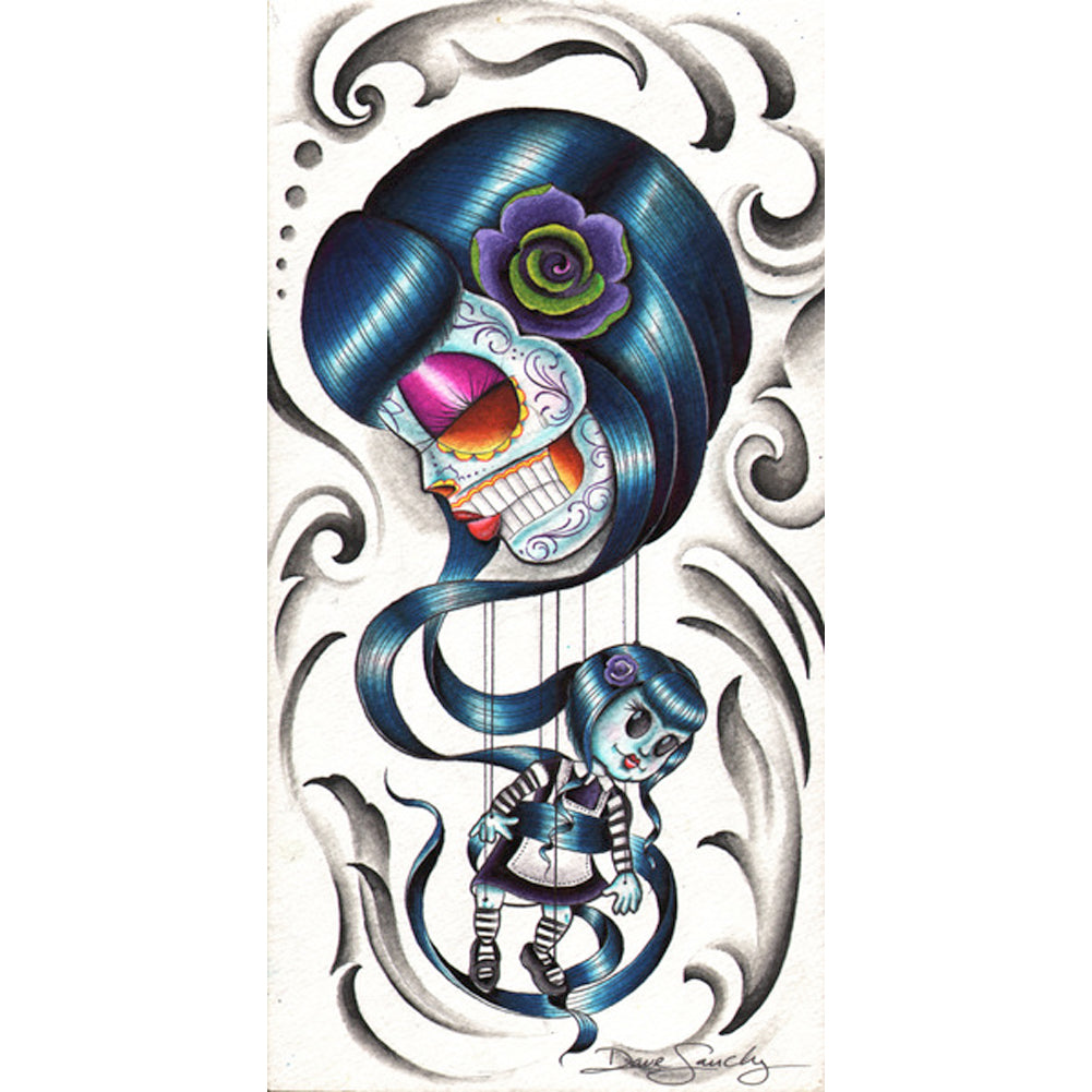 Mary Annette by Dave Sanchez Canvas Giclee Day of the Dead Marionette Girl