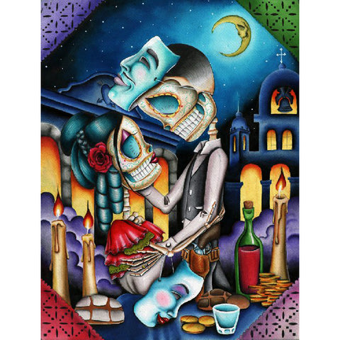 Masquerade by Dave Sanchez Canvas Giclee Day of the Dead Skeletons Sugar Skulls