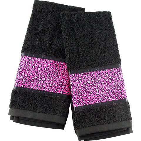 Tattoo Home Decor Ads Mayhem Marilyn Black With Hot Pink Leopard Hand Towel Set