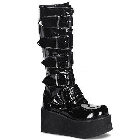 Men's Demonia Trashville-518 Platform Knee Boot Black Patent Goth Punk Buckles