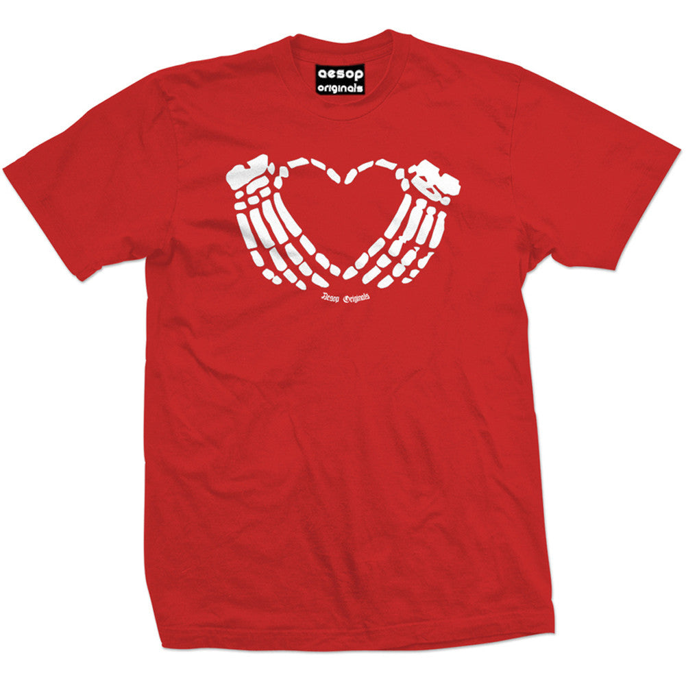 Men's Aesop Originals Crimson Heart T-Shirt Red Skeleton Hands