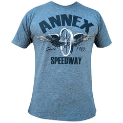 Men's Annex Clothing Speedway T-Shirt Heather Charcoal Winged Wheel Motorcycle