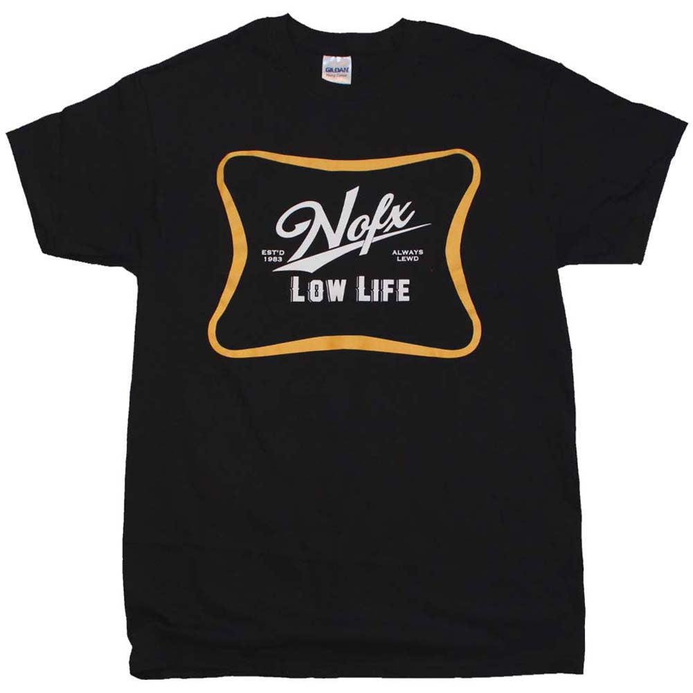 Men's NOFX Low Life T-Shirt Black Old School Punk Rock Beer Inspired
