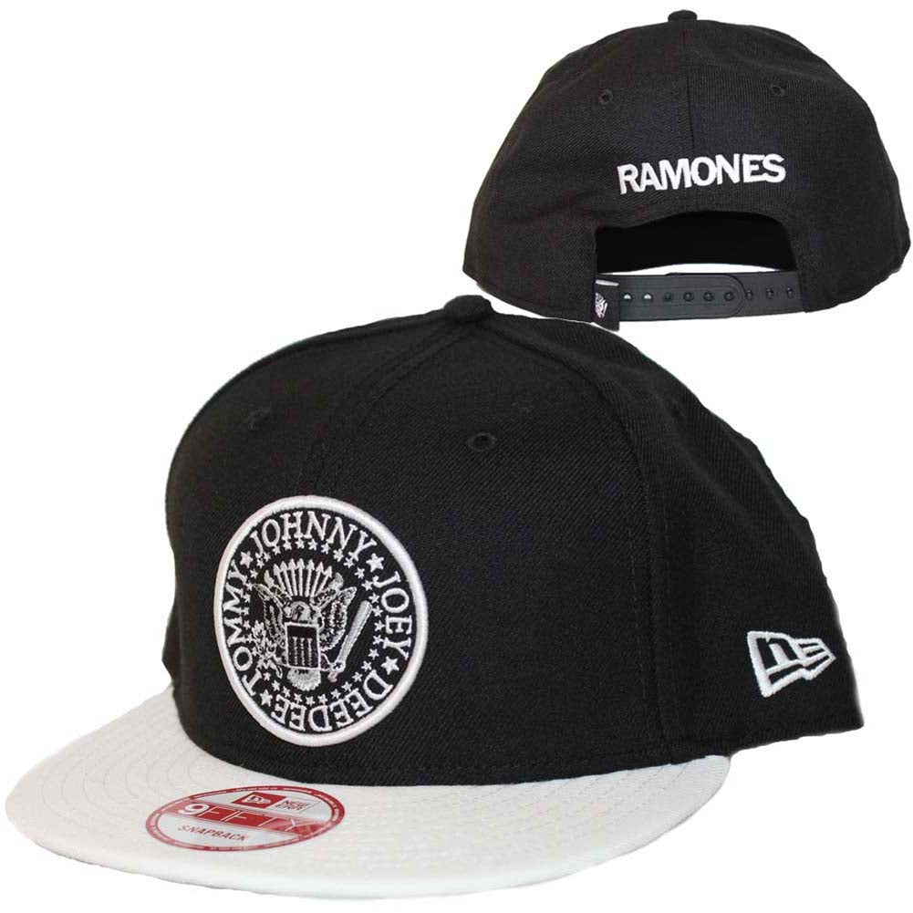 Men's Ramones Seal Black and White New Era Hat Logo Old School Punk Rock