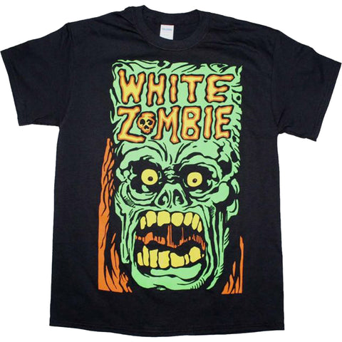 Men's White Zombie Monster Yell T-Shirt Metal Industrial Rock Band Music