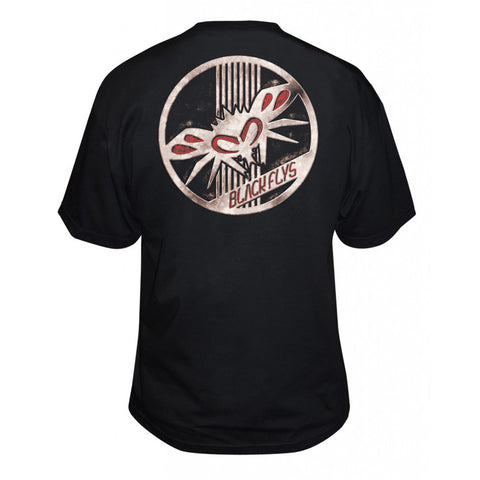 Men's Black Flys Rust Badge T-Shirt Black Logo