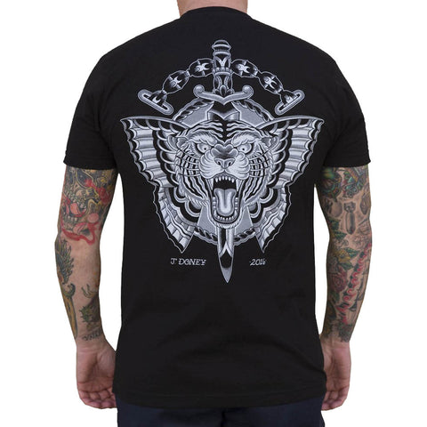 Men's Black Market Art Flying Tiger T-Shirt Black Tattoo Flash Art Dagger