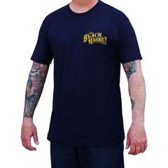 Men's Golden Cobra T-Shirt Navy By Tim Hendricks Snake Tattoo Art