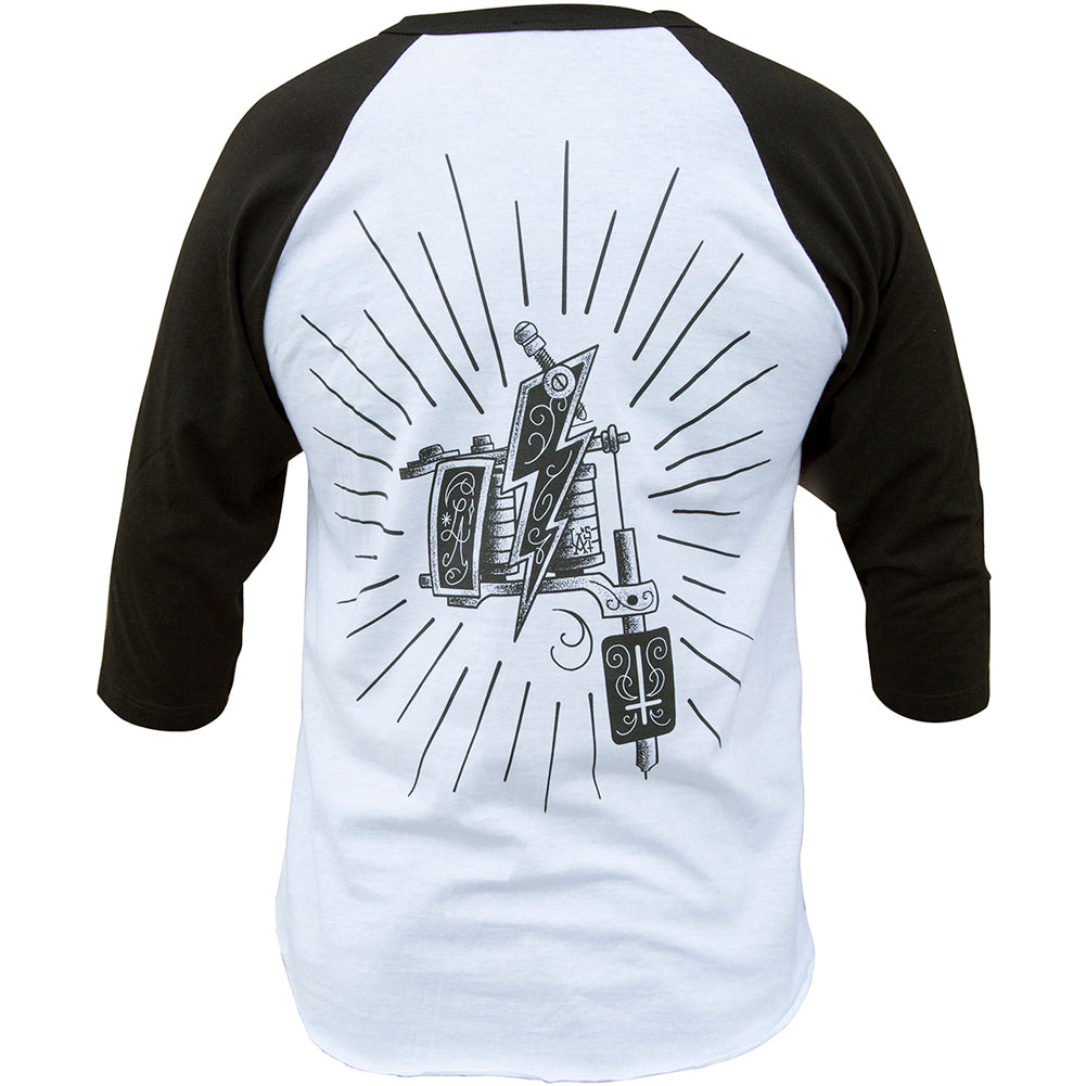 Men's Black Market Art Machine Baseball T-Shirt White/Black Tattoo Machine Gun