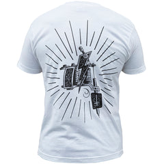 Men's Black Market Art Machine T-Shirt White Tattoo Machine