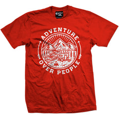 Men's Cartel Ink Adventure Over People T-Shirt Red Summer Camping