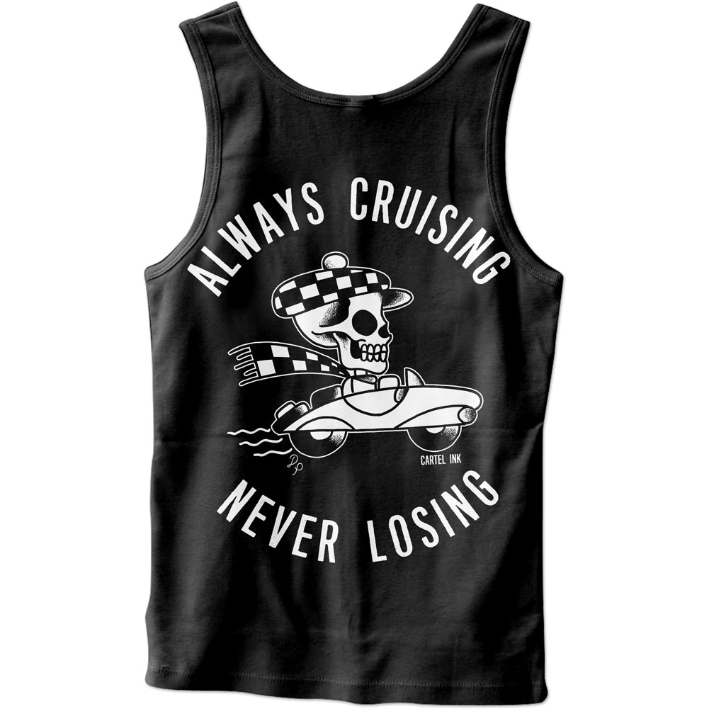 Men's Cartel Ink Always Cruising Never Losing Tank Top Black Skull Hot Rod