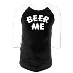 Men's Cartel Ink Beer Me Baseball T-Shirt Black/White Drinking Alcohol Party