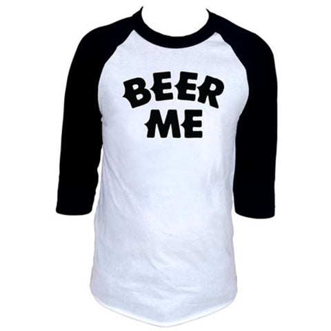 Men's Cartel Ink Beer Me Baseball T-Shirt White/Black Drinking Alcohol Party