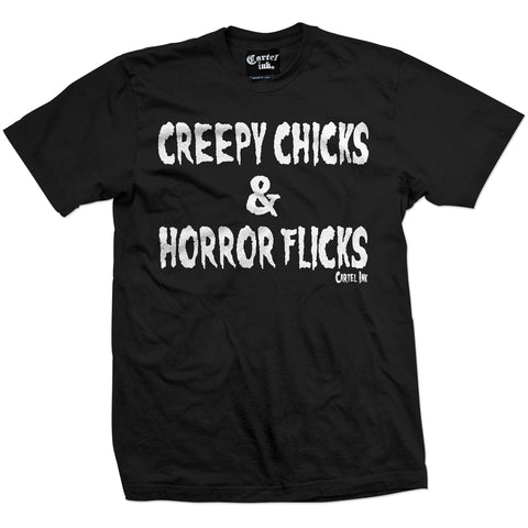 Men's Cartel Ink Creepy Chicks and Horror Flicks T-Shirt Goth Girls Scary Movies