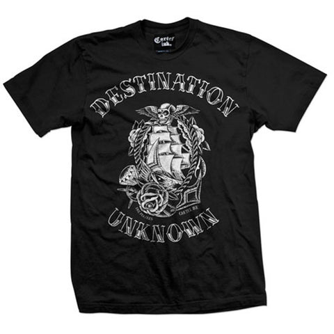 Men's Cartel Ink Destination Unknown T-Shirt Black Traditional Nautical Tattoo