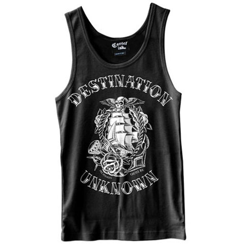 Men's Cartel Ink Destination Unknown Tank Top Black Traditional Nautical Tattoo