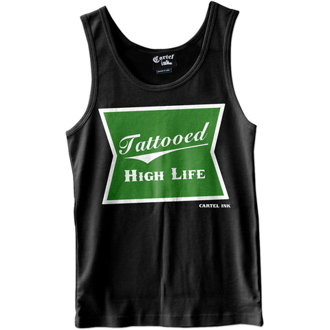 Men's Cartel Ink High Life Tank Top Black  Weed 420 Marijuana