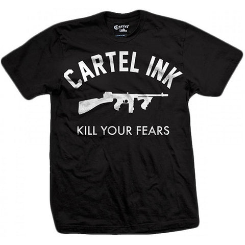 Men's Cartel Ink Kill Your Fears T-Shirt Tommy Gun Chopper