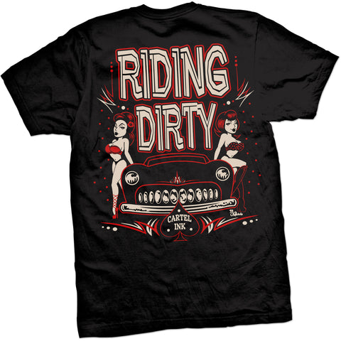 Men's Cartel Ink Riding Dirty T-Shirt Black Hot Rod Lead Sled Pin Ups Rockabilly