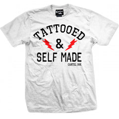 Men's Cartel Ink Tattooed And Self Made T-Shirt White Tattoo Inked Life