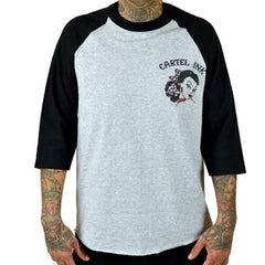Men's Cartel Ink Tattooed Ladies Flash 3/4 Sleeve Grey Traditional Tattoo Flash