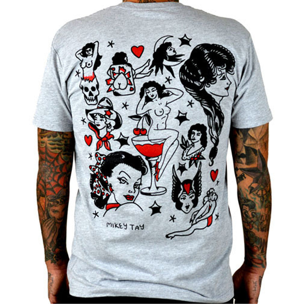 men 39 s cartel ink tattooed ladies flash t shirt grey