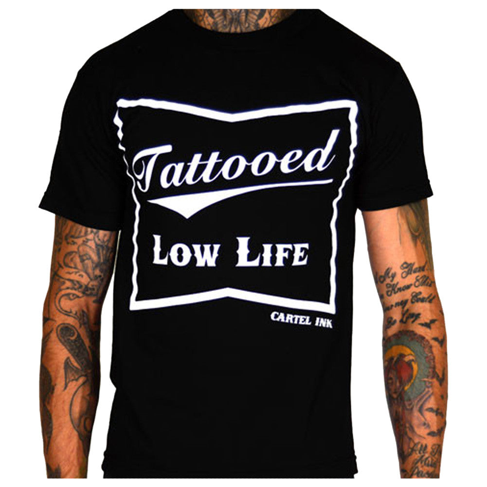 Men's Cartel Ink Tattooed Low Life T-Shirt Black Tattoo Inked Lifestyle