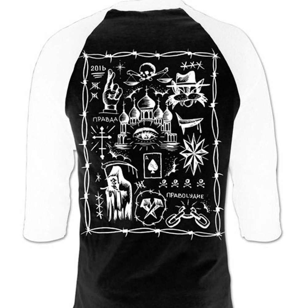 Men's Cartel Ink Truth and Justice Tattoo Flash 3/4 Sleeve Jersey Black Death