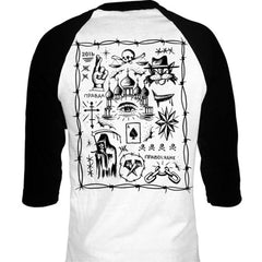Men's Cartel Ink Truth and Justice Tattoo Flash 3/4 Sleeve Jersey White Death