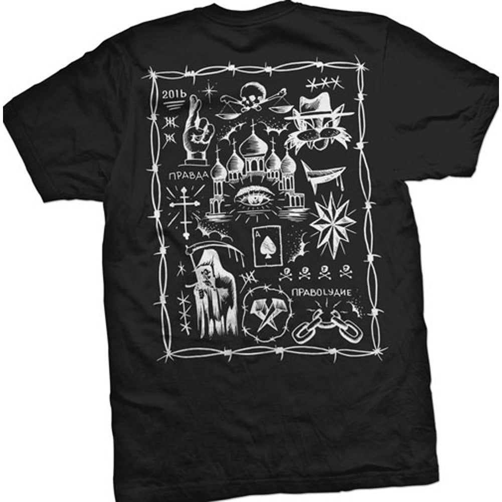 Men's Cartel Ink Truth and Justice Tattoo Flash T-Shirt Black Death Tattoo