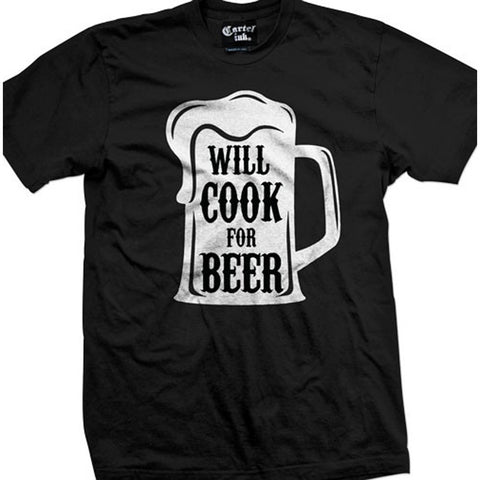 Men's Cartel Ink Will Cook for Beer T-Shirt Drinking Alcohol Party BBQ