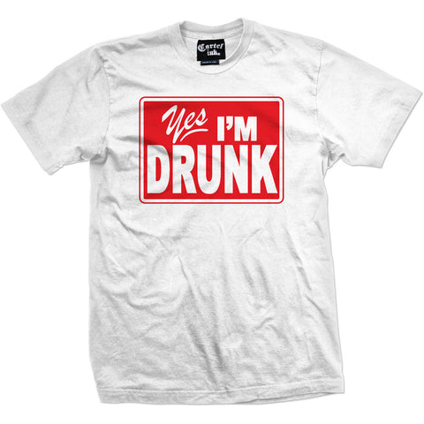 Men's Cartel Ink Yes I?m Drunk T-Shirt White Brooze Drinking Alcohol Party