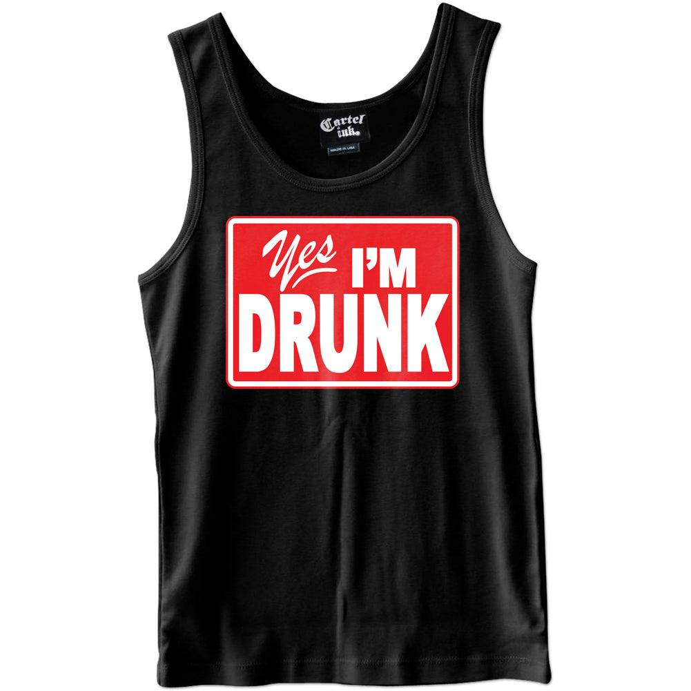 Men's Cartel Ink Yes I?m Drunk Tank Top Black Brooze Drinking Alcohol Party