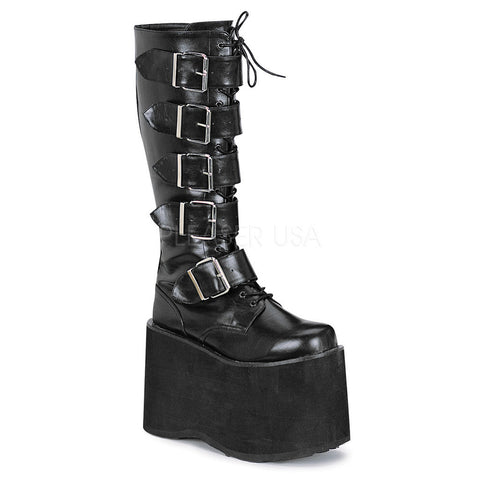 Men's Demonia MEGA-618 Platform Knee Boot Black Buckles Goth Cyber Goth