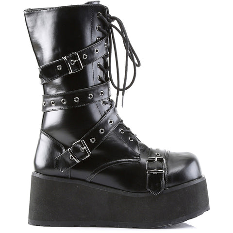 Unisex Demonia TRASHVILLE-205 Calf Boot Black