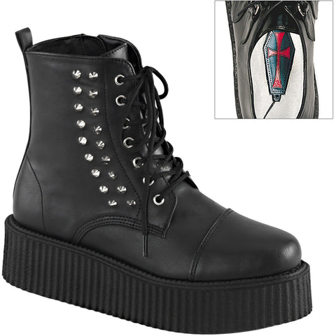 Men's Demonia V-Creeper-573 Platform Ankle Boot Black Goth Punk Studded