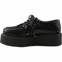 Unisex Demonia V-CREEPER-535 Platform Lace Creeper Black Goth Rockabilly Studded