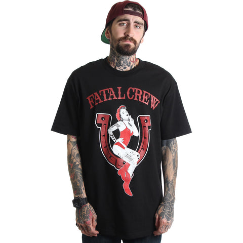 Men's Fatal Annie T-Shirt Black Tattooed Girl Pin Up Horseshoe