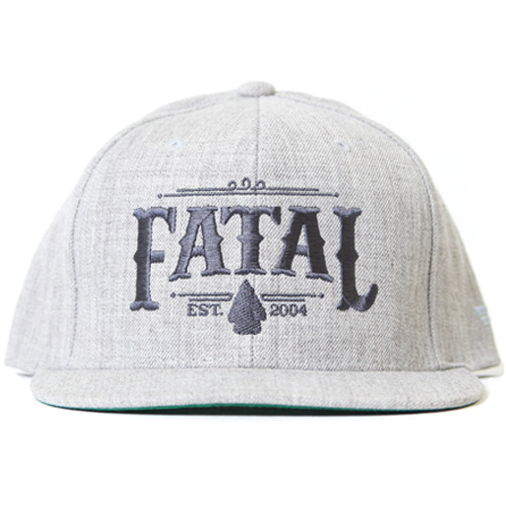 Men s Fatal Arrowhead Snapback Hat Heather Grey Logo Streetwear e6a0fd4208a