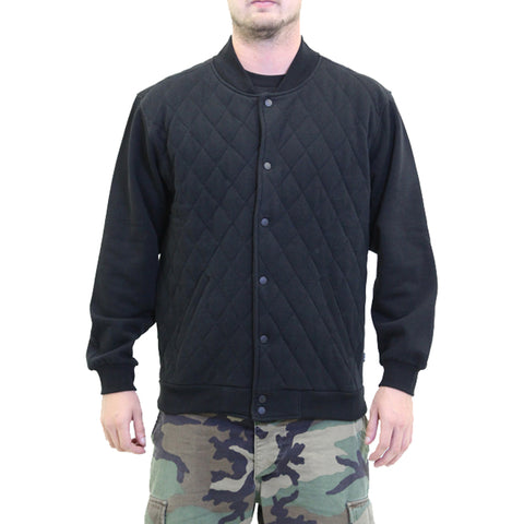 Men's Fatal Campus Quilted Fleece Bomber Jacket Black Coat