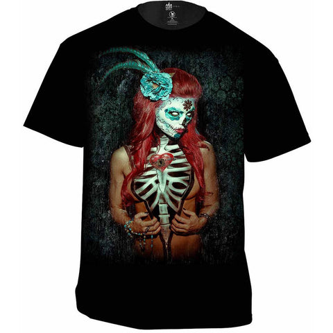 Men's Get Down Art Key to My Heart T-Shirt Black Day of the Dead Girl Skeleton