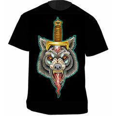 Men's Get Down Art Wolf Dagger T-Shirt Black Tattoo Flash