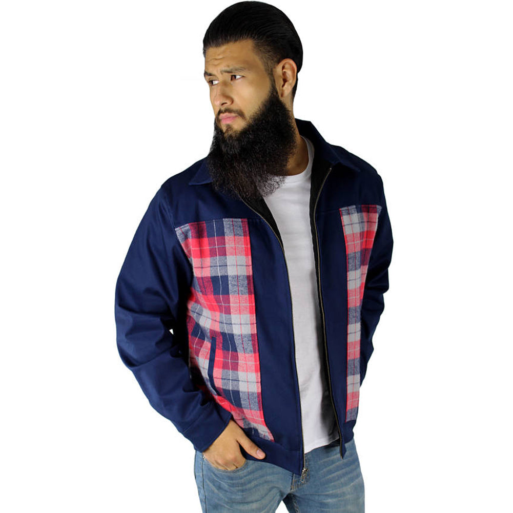 Men's Hemet Plaid Panel Jacket Blue Retro Rockabilly