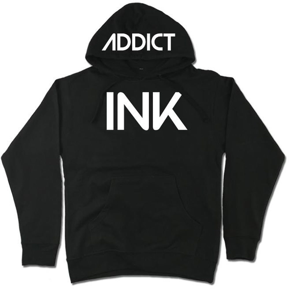 Men's InkAddict INK Midweight Pullover Hoodie Black/White Tattoo Tattooed Inked